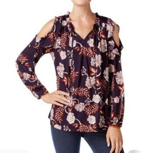 Style & Co Purple Ivory Floral Knit Blouse